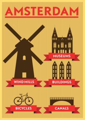 Affisch Amsterdam City Typografi Design