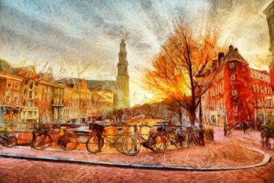 Affisch Amsterdam kanal på kvällen impressionistisk målning