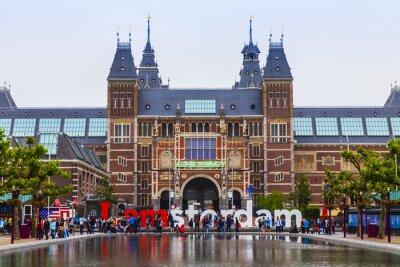 Affisch Amsterdam, Nederländerna. Torget framför den statliga museum