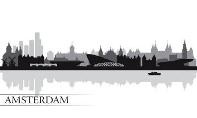 Affisch Amsterdam silhuett silhuett bakgrund