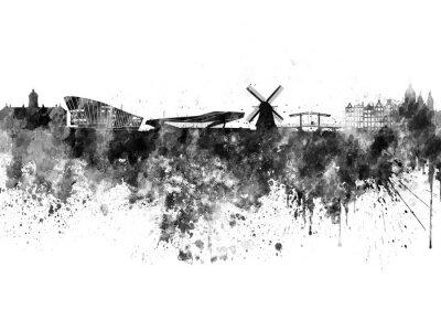 Affisch Amsterdam skyline i svart vattenfärg