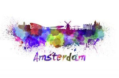 Affisch Amsterdam skyline i vattenfärg