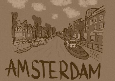 Affisch Amsterdam tappning