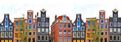 Affisch Amsterdam. traditionella hus gräns