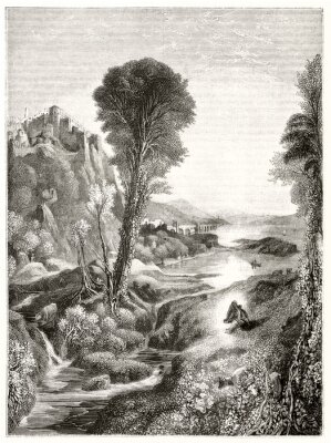 Affisch Ancient grayscale etching style illustration of a majestic natural landscape at sunset with a river leading to the sun. By Marvy after Turner publ. on Magasin Pittoresque Paris 1848