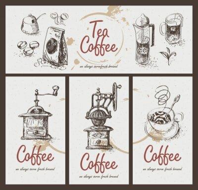 Affisch ange ritning redskap för att dricka te och kaffe