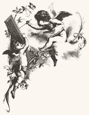 Affisch Änglar - gråtoner