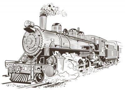 Affisch ånglok illustration i vintage stil