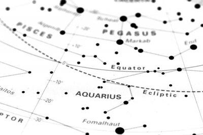 Affisch Aquarius stjärnkarta zodiaken. Stjärntecken Vattumannen på en astronomi stjärnkarta.