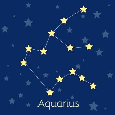Affisch Aquarius Vatten Zodiac konstellation med stjärnor i kosmos. vektorbild