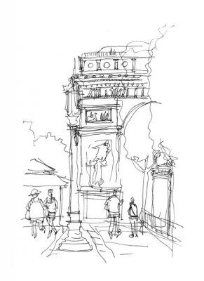 Affisch Arc de Triomphe skiss
