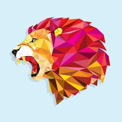 Affisch Arg lejon med geometrisk mönster- vektor illustration