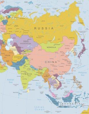 Affisch Asia -Mycket detaljerade map.Layers användas.