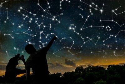 Affisch Astrologi koncept. Konstellationer på natthimlen. Silhuetter av astrologer observera stjärnkonstellation.