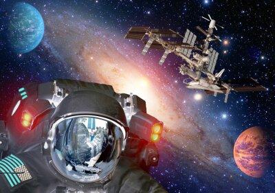 Affisch Astronaut et främmande utomjordisk sci fi ufo utrymme planet rymdskepp. Delar av denna bild som tillhandahålls av NASA.