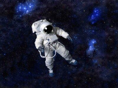 Affisch Astronaut flytande i mörkt utrymme.