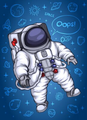 Affisch Astronaut i yttre rymden. Mot bakgrund av kosmiska objekt.