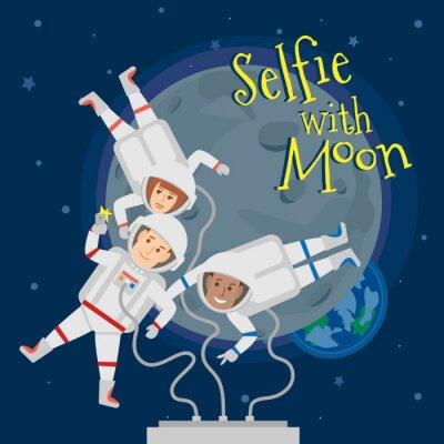 Affisch astronauter män och kvinnor i rymden tar selfie porträtt med månen .selfie moon koncept illustration