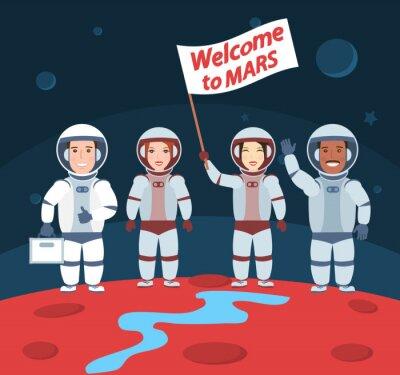 Affisch astronauter på Mars. Välkommen till mars.international grupp med flagga