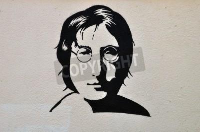 Affisch Aten, Grekland - 30 augusti 2014: John Lennon stående stencil graffiti urban konst på texturerad vägg.