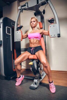 Affisch attraktiv kvinna i gym träning maskin