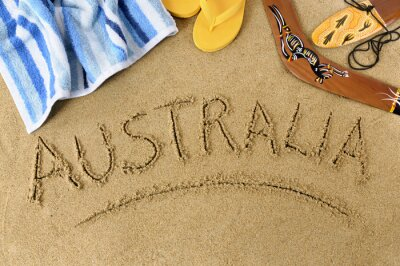 Affisch Australien strand bakgrund