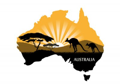 Affisch australiska kontinenten