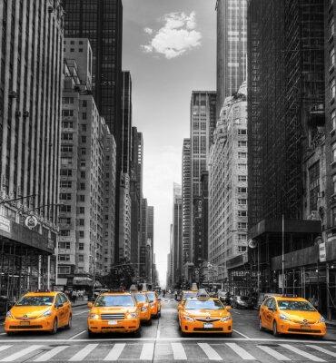 Affisch Avenue avec des taxi à New York.