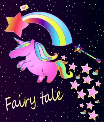 Affisch Baby affisch-gullig rosa enhörning med regnbåge på en vacker gradient bakgrund med stjärnor och hjärtan