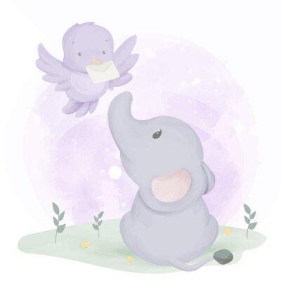 Affisch Baby Elephant Get Mail From Bird