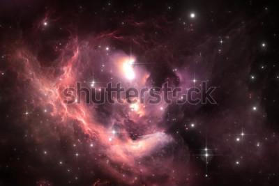 Affisch Bakgrund för utrymme för natthimmel med nebulosan och stjärnor, illustration