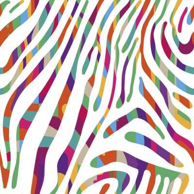 Affisch Bakgrund med färgglada Zebra hud mönster