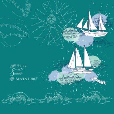 Affisch Bakgrund med fartyg och waves.Hand dras hav, vågor och yachter. Vector Illustration