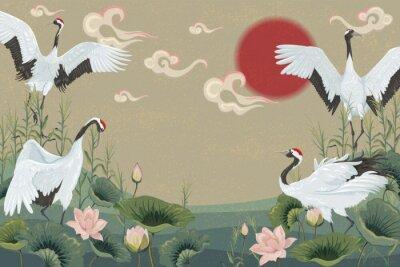 Affisch bakgrund med japanska kranar vid solnedgången