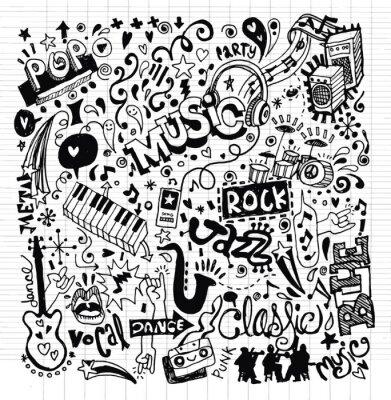 Affisch Bakgrundsmusik, Hand ritning klotter