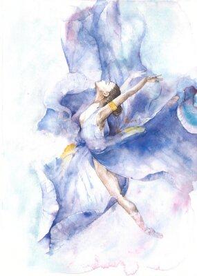 Affisch Ballerina dansa akvarellmålning isolerad på vit bakgrund gratulationskort