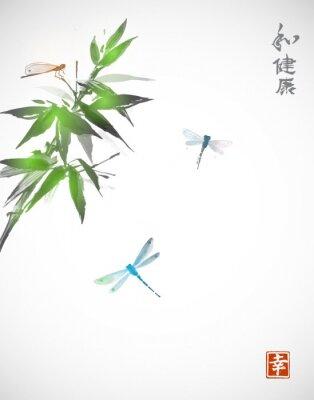 Affisch Bambu gren och tre sländor