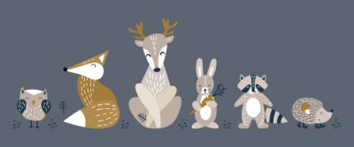 Affisch Banner with cute woodland animals in scandinavian style. Set of nice characters on dark background. Flat vector illustartion.