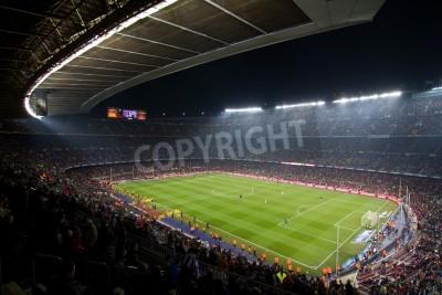 Affisch Barcelona - DECEMBER 13, 2010: Panoramautsikt över Camp Nou, stadion för fotbollsklubben Barcelona laget innan matchen FC Barcelona - Real Sociedad, slutresultatet 5-0.