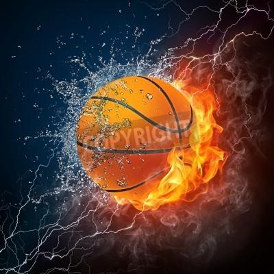 Affisch Basket Boll eld och vatten. 2D-grafik. Computer Design.