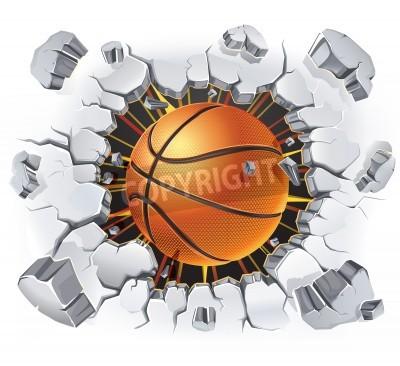 Affisch Basket och Gamla gipsvägg skada illustration