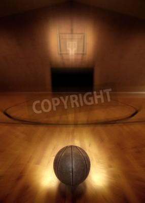 Affisch Basket på golvet av tomma basketplan