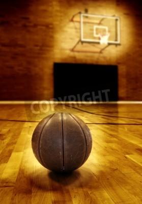 Affisch Basket på trägolv gamla basketplan