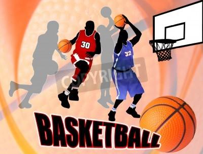 Affisch Basket spelare på vackra abstrakt bakgrund. Klassisk basket affischillustration