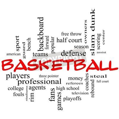Affisch Basket uttrycker molnet Concept i rött lock med stora termer som vakt, stjäla, rebound, slam dunk, center, bistå, spel och mycket mer.