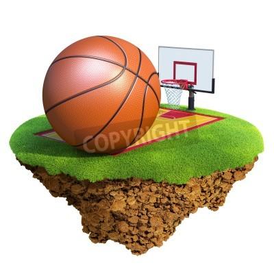 Affisch Basketboll, ryggstöd, tunnband och domstol på grundval lilla planet. Koncept för basket team eller konkurrens design. Liten ö / planet samling.
