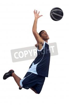 Affisch Basketspelare isolerade i vit