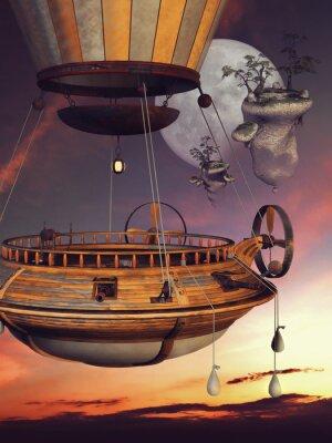 Affisch Baśniowy balon na tle księżyca i latających WYSP