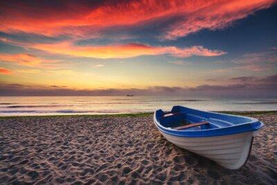 Affisch Båt och soluppgång