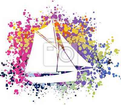 Affisch Bateau voilier coloré